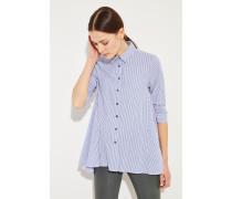 Gestreifte Bluse mit verkürzten Ärmel Blau/Weiß