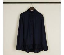 Baumwoll-Bluse mit Rüschendetails Blau - 100% Baumwolle