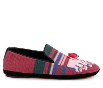 Bestickte Loafers Fuchsia/Pink