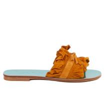 Flache Sandale mit gerafftem Wildlederriemen Multi