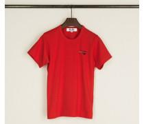 T-Shirt mit Doppel-Herz-Emblem Rot - 100% Baumwolle
