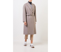 Woll-Cashmere-Mantel mit Gürtel Taupe