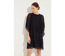 Kurzes Kleid mit Volants Schwarz