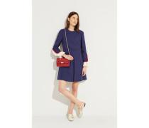 8153f3e6a2a Woll-Seiden-Kleid mit Rüschendetails Blau. Valentino