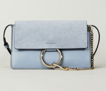Schultertasche 'Faye Small' mit Velourslederelementen Washed Blue - Leder