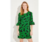 Kleid mit Print Schwarz/Grün
