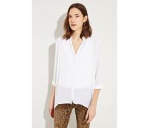 Seiden-Bluse 'Adora' mit asymmetrischem Saum Weiß