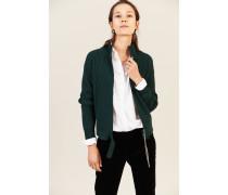 Woll-Seiden-Cardigan mit Gürteldetail Grün