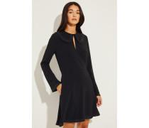 Kleid mit Plissee-Details Schwarz