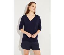 Oversize Woll-Pullover Marineblau