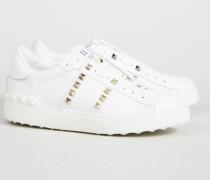 Sneaker mit Nieten Weiß - Leder