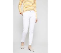 Baumwoll-Hose mit gekrempeltem Bein Weiß