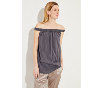 Off-Shoulder Seiden-Top Anthrazit