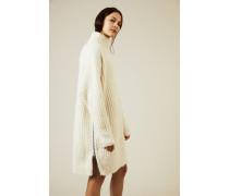 Woll-Kleid mit Reißverschlussdetails Écru