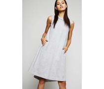 Leinengemisch Kleid Grau - Seide