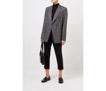 Karierter Woll-Blazer mit Perlenverzierung Schwarz/Grau