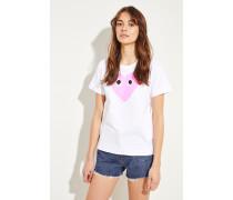 T-Shirt mit Herz-Emblem Weiß/Pink