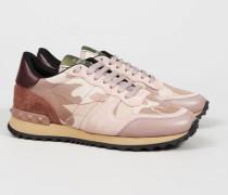 Gemusterter Sneaker mit Nieten Rosé/Multi - Leder