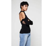 Gerippter Pullover mit Cut-Out-Detail Schwarz