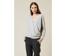Oversized Cashmere-Pullover mit Perlenverzierung Silber