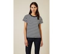 Shirt 'Kat Slip Back T' Blau/Weiß