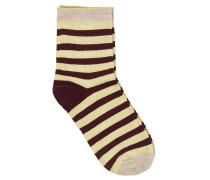 Socken Dory Stripe in Bordeaux/Gelb