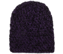 Mütze Handgestrickt Lila/Schwarz