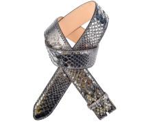 Pythonledergürtel Gala Nuvola in Schwarz Metallic 4 cm