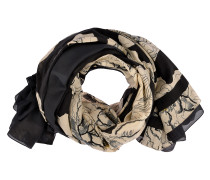 Tuch Floral Double Face in Schwarz