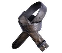 Pythonledergürtel RUM Metal in Schwarz 4 cm