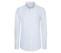 Gestreiftes Trachtenhemd, mehrfarbig in Weiss