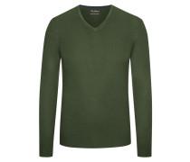 Pullover mit V-Ausschnitt aus Merinowolle in Gruen