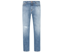 Slim Fit Jeans, Used Look in Denim