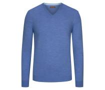 V-Ausschnitt Pullover, 100% Merinowolle in Blau