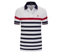 Poloshirt, modische Streifen in Weiss