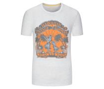 Rundhals T-Shirt, sommerlicher Print in Weiss