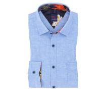 Uni-Leinenhemd, Kontrastausputz in Blau