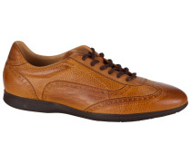 Sneaker in Eidechsen-Optik in Cognac