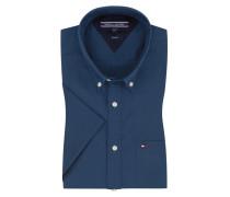 Kurzarmhemd mit Brusttasche in Blau