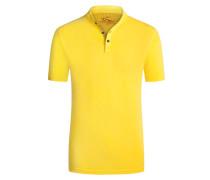 Stehkragen Poloshirt im Washed-Look in Gelb