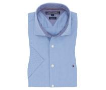 Leichtes Kurzarmhemd, Dot-Stripe in Blau