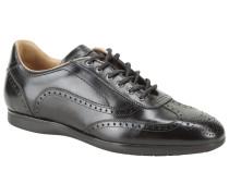 Ledersneaker mit modischer Lyralochung in Schwarz