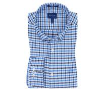 Kariertes Oberhemd, Comfort Stretch in Blau