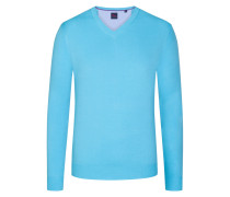 Basic V-Neck Pullover in Hellblau