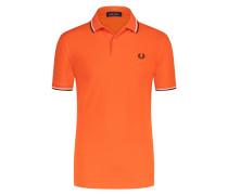 Poloshirt mit gestreiftem Kragen in Orange