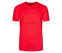 T-Shirt mit Labelschriftzug in Rot