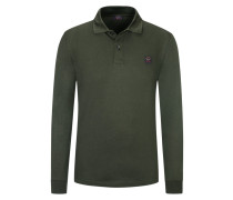 Poloshirt, Langarm, Piqué Qualität in Oliv