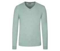 V-Ausschnitt Pullover, 100% Merinowolle in Gruen