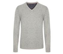 Merino/Kaschmir V-Neck Pullover in Silber