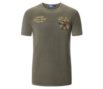 T-Shirt, O-Neck, 'Fighting Bulls'-Print in Oliv